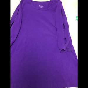 GUC D&CO 3/4 SLEEVE PURPLE TUNIC SZ M